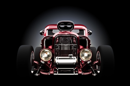 Hotrod con el fondo gradiant, modelo 3d photo