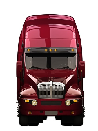 Semi truck with white background photo