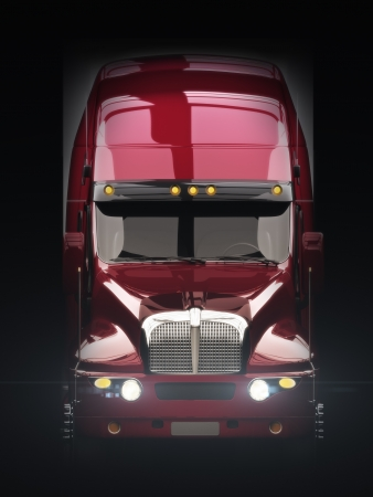 Semi truck with lights with dark background photo