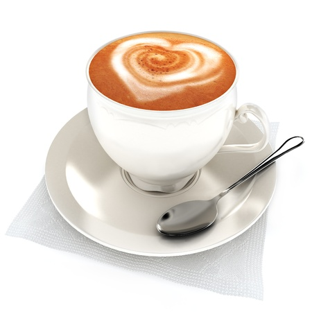 capuchino: Caf� con leche con dise�o del coraz�n en un fondo blanco