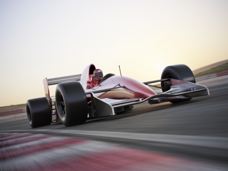 formule: Indy car racer with blurred background  3d model