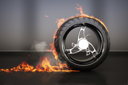 Tire burnout with flames smoke and debris,concept  3d model with custom rim  photo