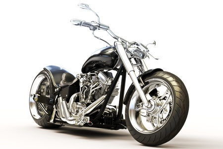 render: Motorcycle isolated on white background , 3d model Stock Photo