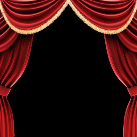 curtain theater: Abra las cortinas o cortinas de teatro escenario con un fondo negro Foto de archivo