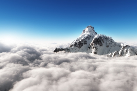 cloud formation: Mountain above the clouds