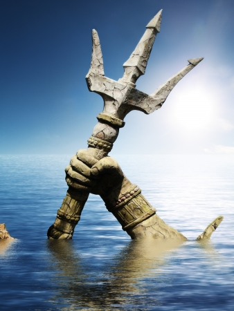 Statue of Neptune or Poseidon s arm holding trident coming up through the water  3d render