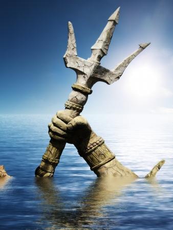 Standbeeld van Neptunus of Poseidon s arm houden drietand komen door het water 3d render