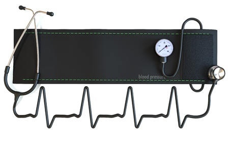 sphygmomanometer: Blood pressure cuff with stethoscope in the shape of a heart waveform  Room for text or copyspace
