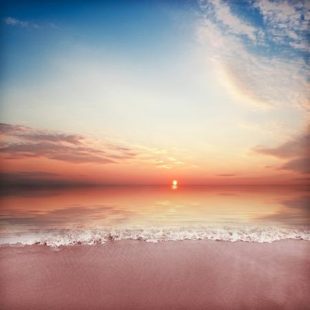 Beach tranquil sunset view