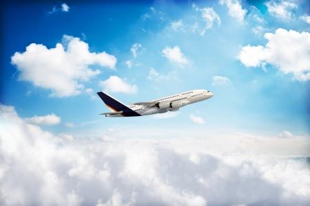 peaking: Jet airplane peaking through the clouds, 3d rendered model