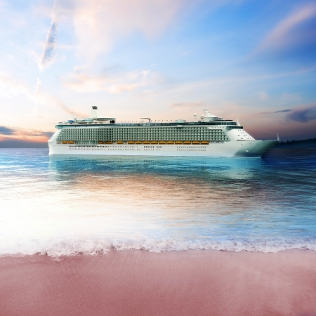 caribbean cruise: Cruis ship just off the coast of an island with tranquil view  3d rendering Stock Photo