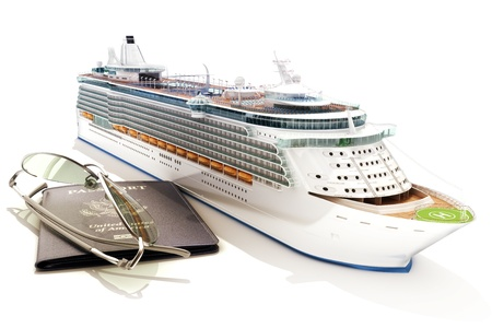 Cruise ship with passport and glasses on a white background Stock Photo