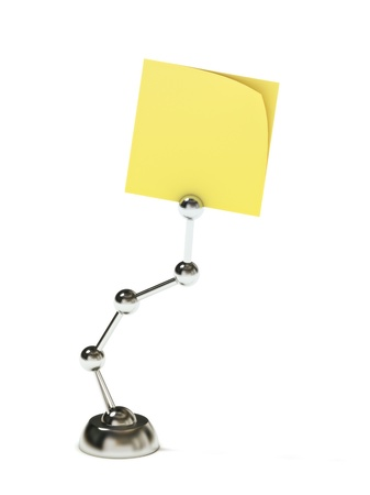 Modern stand holding blank sticky post on a white background  Room for text  Stock Photo - 16765764