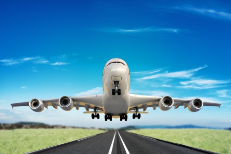 plane landing: Large jet taking off runway  Stock Photo