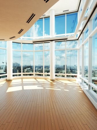 slide glass: Modern interior overlooking a city  Stock Photo