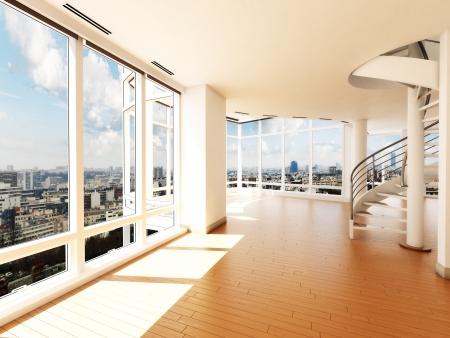leuchtend: Modernes Interieur mit Treppe s mit Blick auf eine Stadt