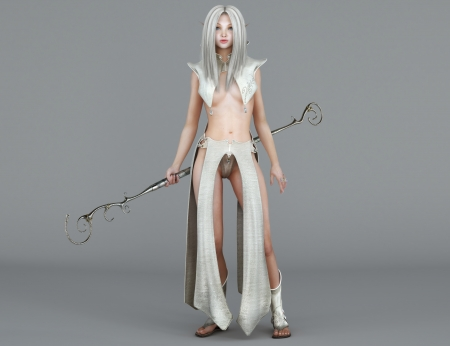 Female elf Mage with blue eyes  Fantasy Character  Photo realistic 3d render photo