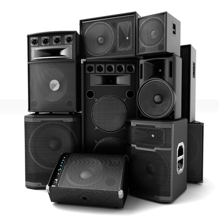 loud: Group of speakers ,loud or abused concept  Stock Photo
