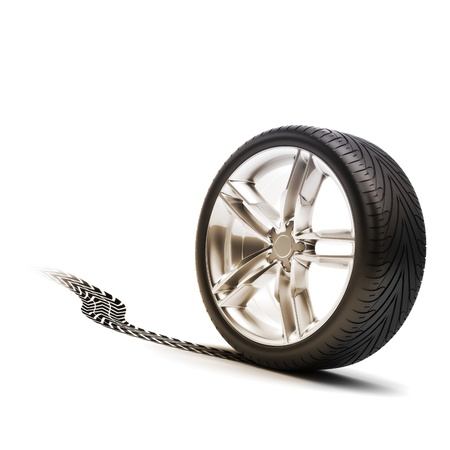 Tire and rim with tread on a white background photo