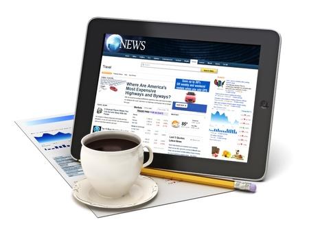 흰색 배경에 커피와 함께 태블릿에 대한 정보. 태블릿 및 화면을 사용자 정의 만든 스톡 콘텐츠