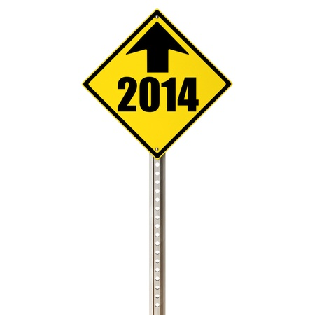 2014 ahead, concept sign on a white background  photo