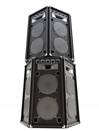 Large audio tower speakers on a white background. photo
