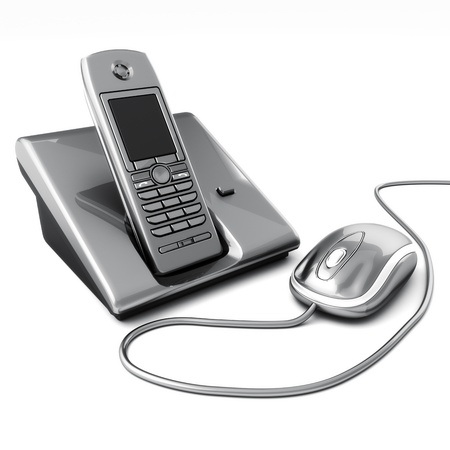 Click or call contact us concept  Computer mouse with telephone  3d image
