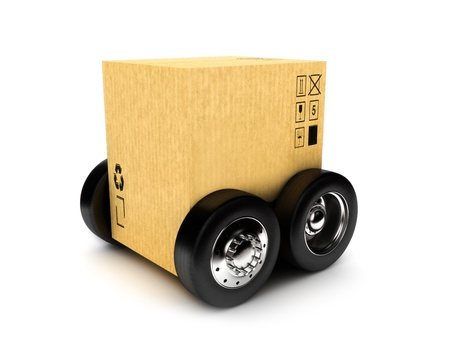 Cardboard box on wheels, moving or package transporting concept