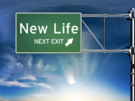 new opportunity: New life next exit, sign depicting a change in life style ahead