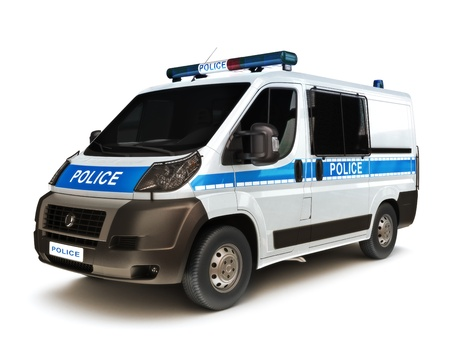 first responder: European Police vehicle on a white background, part of a first responder series Stock Photo