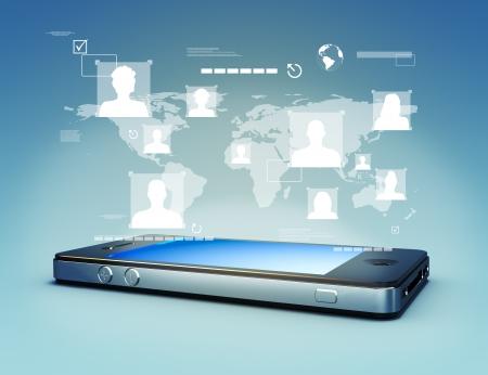 phone button: Moderne media touchscreen-technologie, smartphone koppelen van informatie aan de wereld Photo realistisch 3D beeld scene