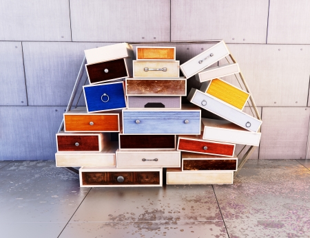 storage: Wooden colored drawers, deco art , abstract background   Stock Photo