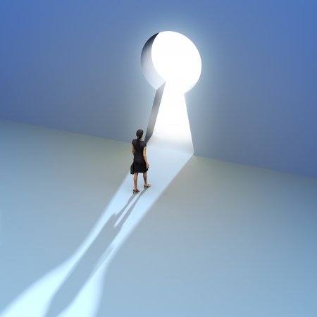 solutions: Key to success, Female walking to the entrance of a keyhole