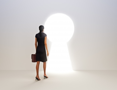 adversity: Business female key to success concept