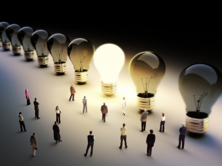 3d image: Light bulbs in a row with one being on, large group of people with a few moving to the light.Leading the pack, ingenuity,taking the initiative,standing out from the crowd concept.