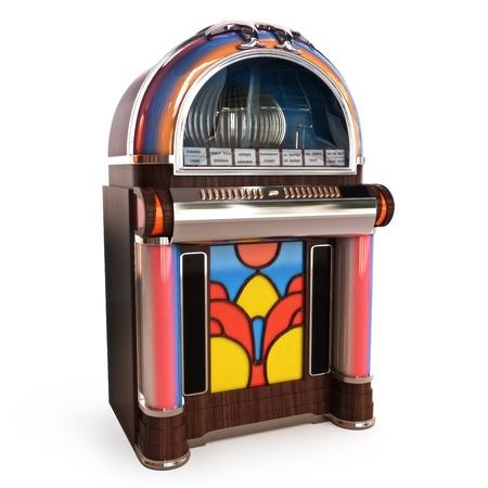 Retro vintage jukebox op een witte achtergrond 3D-model Stockfoto