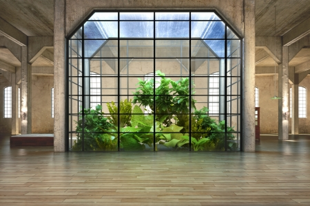 hardwood: Empty room of business, or residence with atrium background Stock Photo