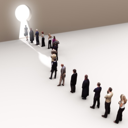 Key to success, line of people moving to the light  photo