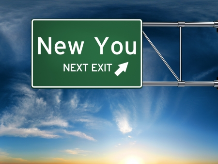 change concept: New you next exit, sign depicting a new change in life