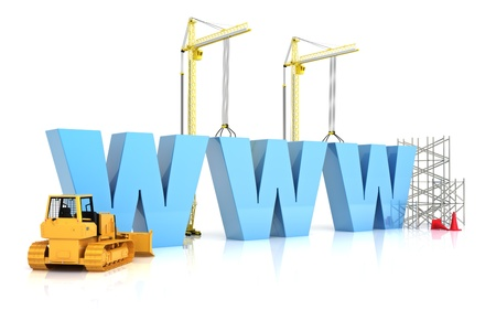 web address: Website building , under construction or repair isolated on a white background  Stock Photo
