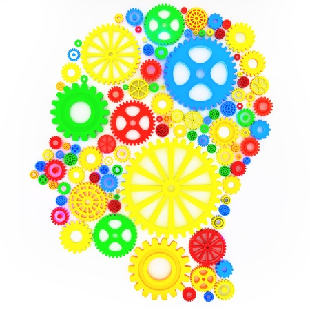 Intellectual thinker, human head with gears concept