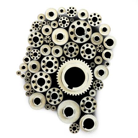 Gears in the shape of a human head