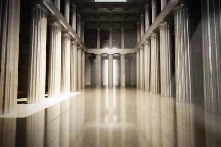 Colonne intérieur salle vide, la loi ou le gouvernement concept de fond, 3d scène modèle