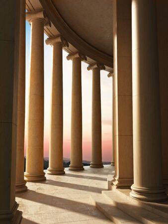 templo romano: Columna de arquitectura con un fondo de escena puesta de sol modelo 3d