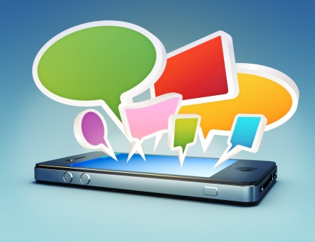 information median: Smartphone with social media chat bubbles or speech bubbles extruding from the screen.  Stock Photo