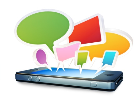 information median: Smartphone with social media chat bubbles or speech bubbles extruding from the screen on a white background  Stock Photo