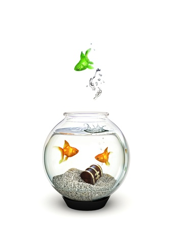 Different, Green fish jumping out of an ordinary goldfish bowl Stock Photo - 18657962