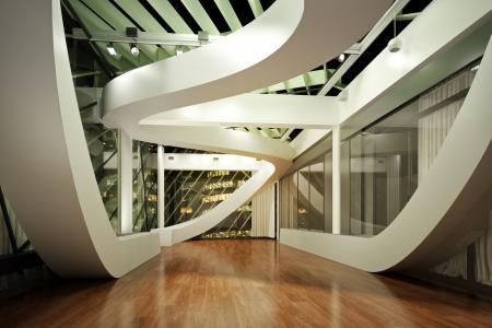 moderne: Nouvel int�rieur moderne, appartement de chambre vide ou une entreprise de bureau avec le fond de ville 3d sc�ne mod�le Banque d'images