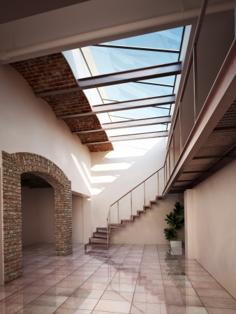 skylight: Empty room, apartment or office space with rustic brick and ceiling skylights   3d model scene Stock Photo