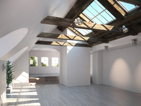 20163769: Empty room with rustic timber ceiling and skylights   3d model scene Stock Photo
